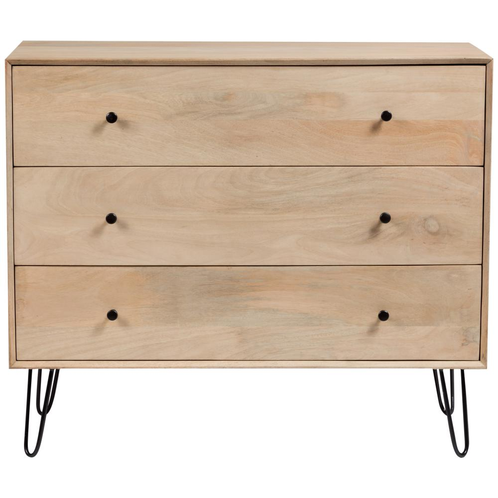 Graphik Contemporary Solid Mango Wood And Hairpin Legs Bedroom Dresser In Natural