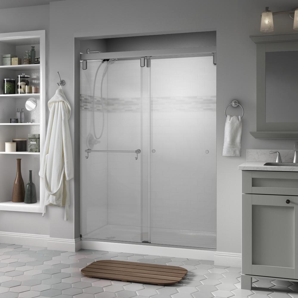 Portman 60 in. x 71-1/2 in. Semi-Frameless Mod Sliding Shower Door in Nickel with 3/8 in. (10mm) Niebla Glass