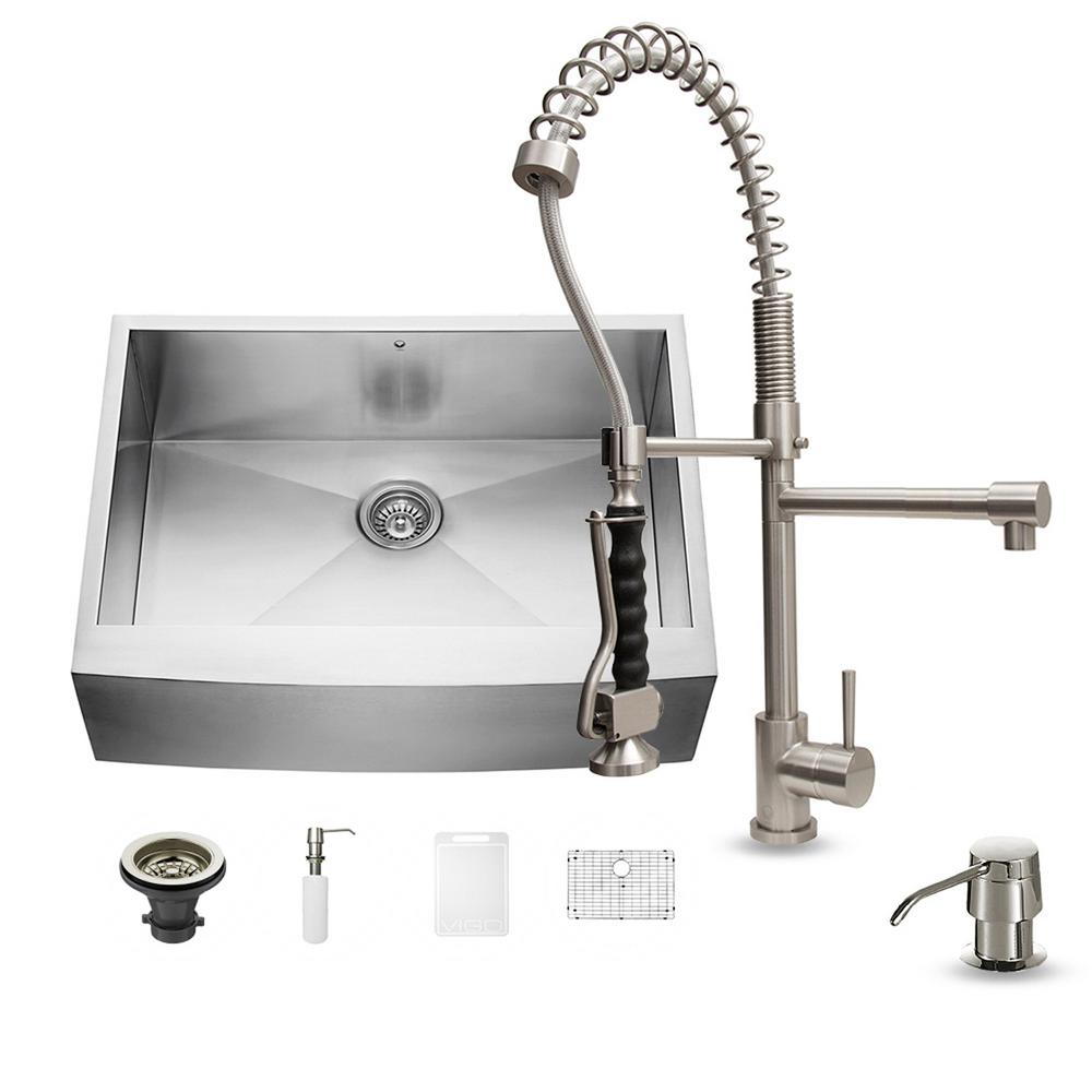 VIGO All-in-One Farmhouse Apron Front Stainless Steel 30 in. 0-Hole Single Basin Kitchen Sink in Stainless Steel