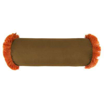 Sunbrella 7 in. x 20 in. Canvas Teak Bolster Outdoor Pillow with Tuscan Fringe