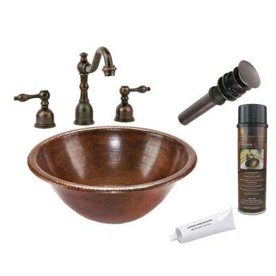 All-in-One Round Self Rimming Hammered Copper Bathroom Sink in Oil Rubbed Bronze