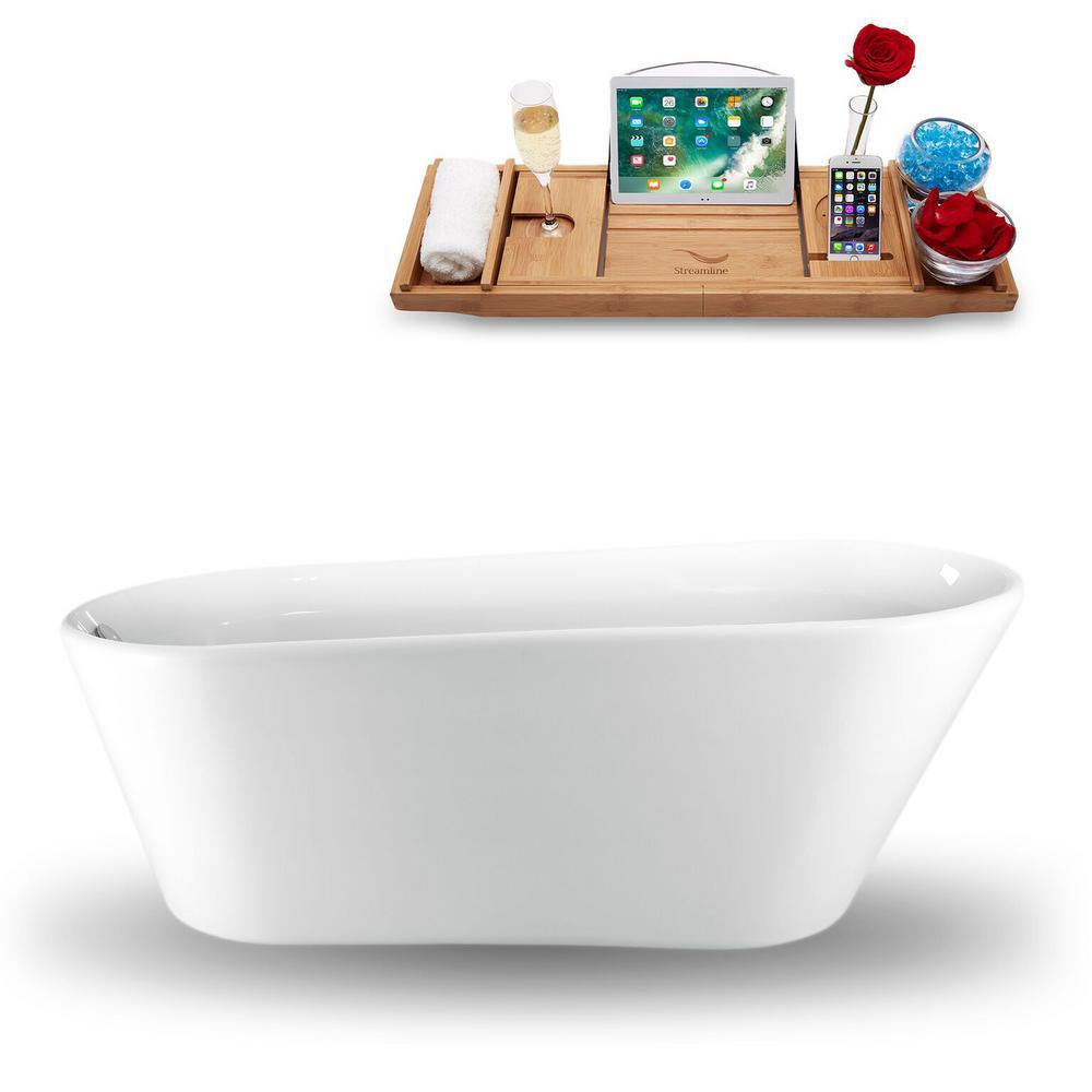 65 in. Acrylic Fiberglass Flatbottom Non-Whirlpool Bathtub in White