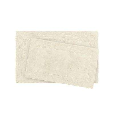 17 in. x 24 in. and 20 in. x 32 in. Ivory Ruffle Cotton Bath Rug Set (2-Piece)