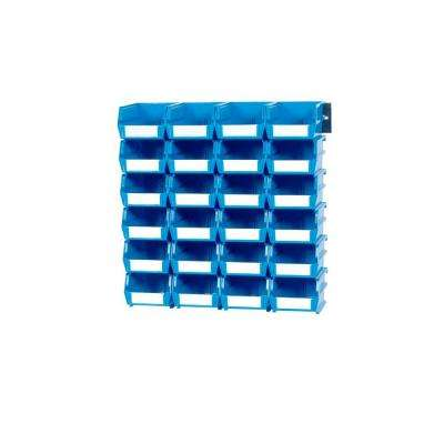LocBin .301-Gal. Small Bin System in Blue (24-Bins) and 2- Wall Mount Rails