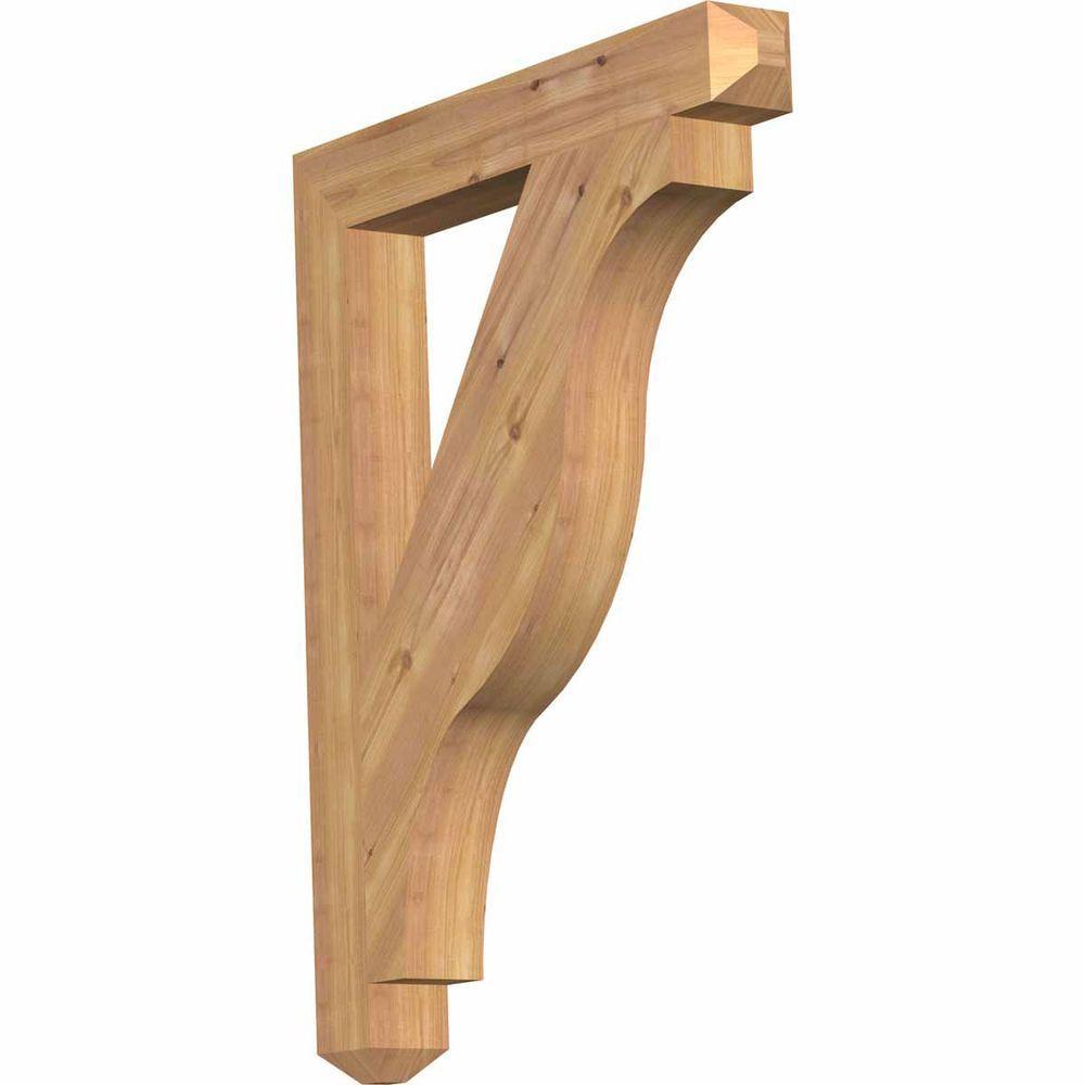 Ekena Millwork 3.5 in. x 36 in. x 28 in. Western Red Cedar Funston Craftsman Smooth Bracket