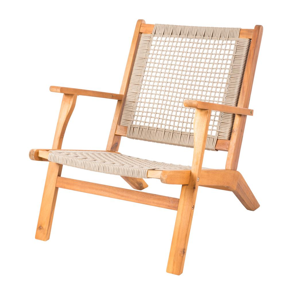 Patio Sense Vega Natural Stain Wood Outdoor Lounge Chair In Beige Rope