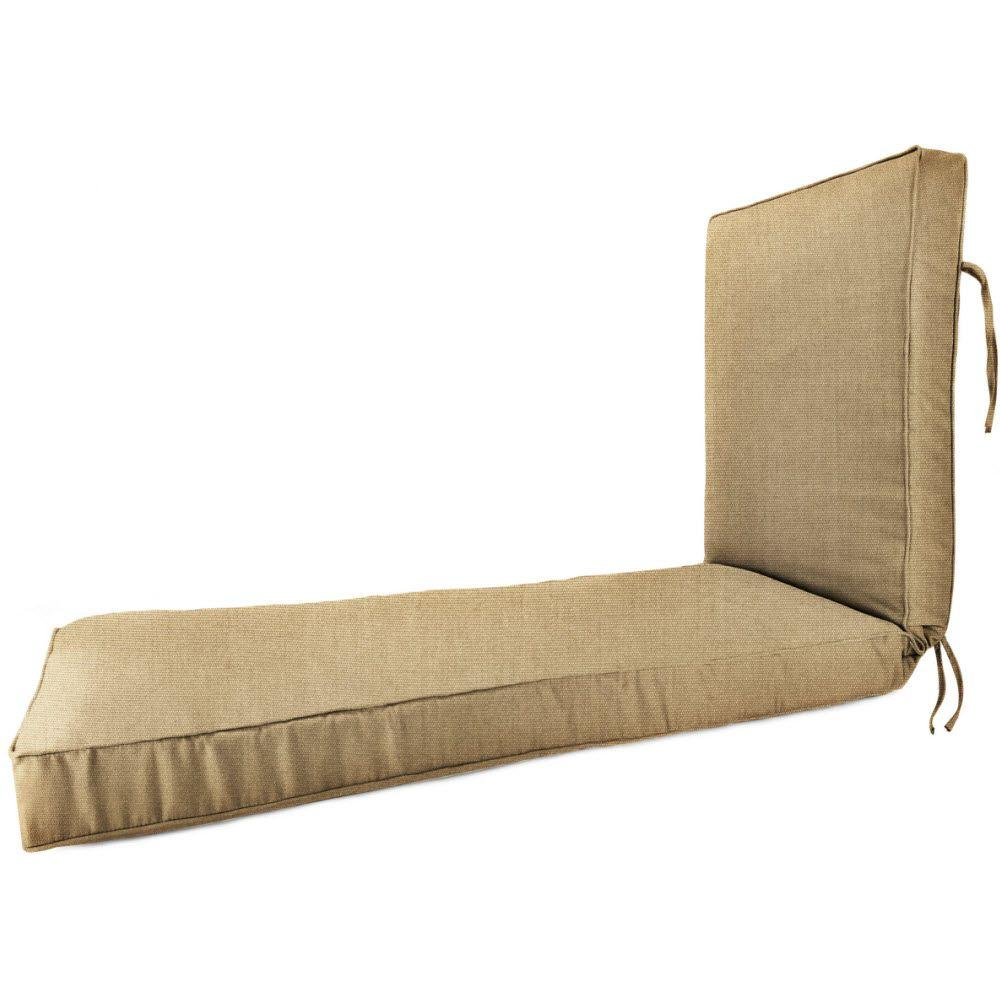 Sunbrella Heather Beige Outdoor Chaise Lounge Cushion