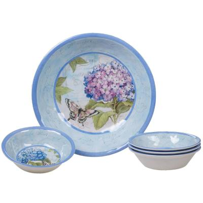 Hydrangea Garden 5-Piece Traditional Multi-colored Melamine Outdoor Dinnerware Set (Service for 5)