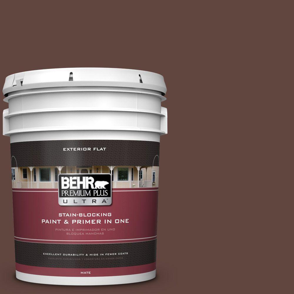 BEHR Premium Plus Ultra 5-gal. #180F-7 Warm Brownie Flat Exterior Paint