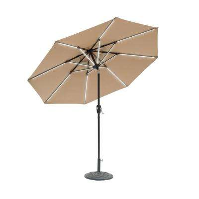 9 ft. Round Next Gen Solar Lighted Market Patio Umbrella in Taupe
