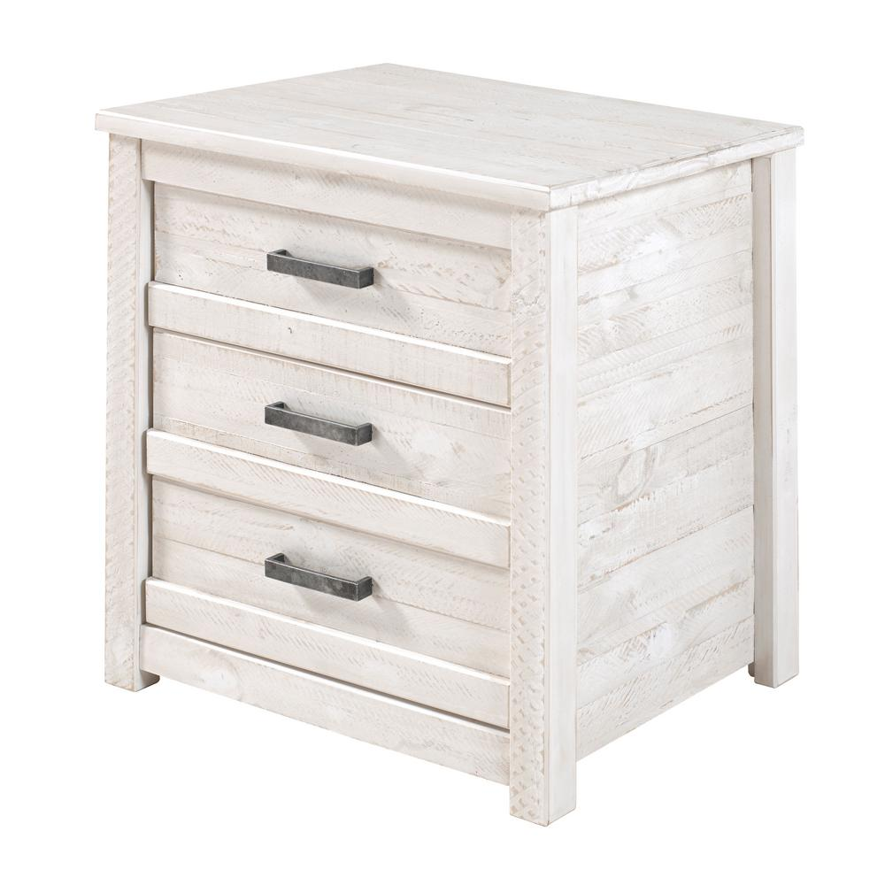 Carmel 3-Drawer Antique White Nightstand