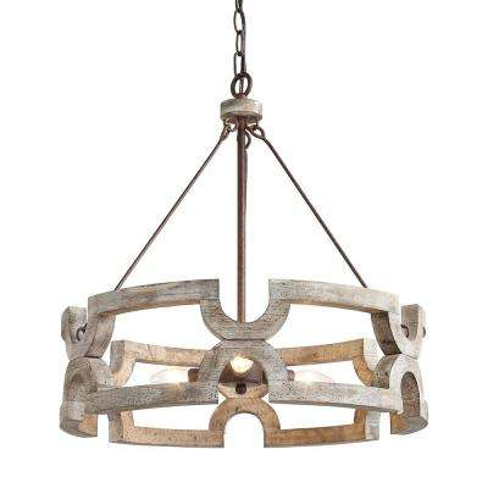 Jolla 3-Light Bronze Round Chandelier with Distressed White Wood Accent