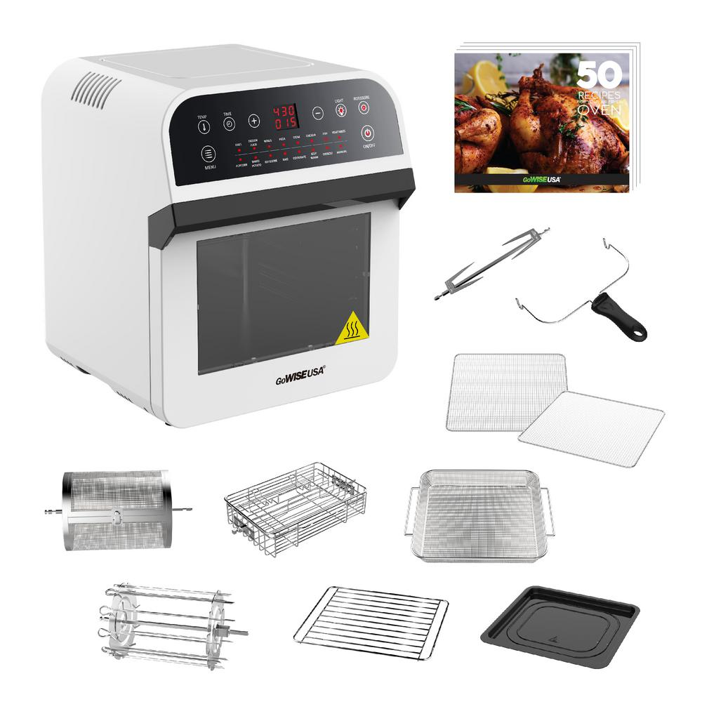 GoWISE USA 1600 W White Rotisserie Oven and 12.7 Qt. Electric Air Fryer