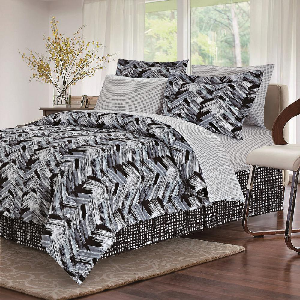 Brown Grey Tribeca Black 8 Piece Queen Bed In Bag Set