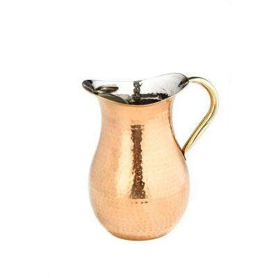 2.25 Qt. Decor Copper Hammered Water Pitcher with Brass Ice Guard and Handle
