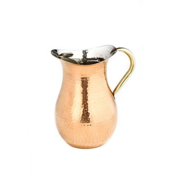 Old Dutch 2.25 Qt. Decor Copper Hammered Water Pitcher with Brass Ice Guard and Handle