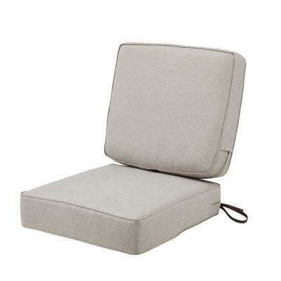 Montlake FadeSafe 25 in. W x 22 in. H Heather Grey Outdoor Lounge Chair Seat Cushion with Back Cushion