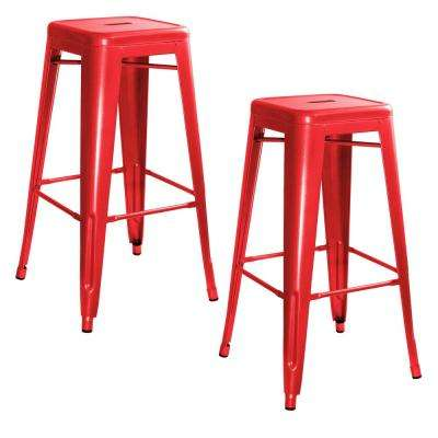 Loft Style 30 in. Stackable Metal Bar Stool in Red (Set of 2)