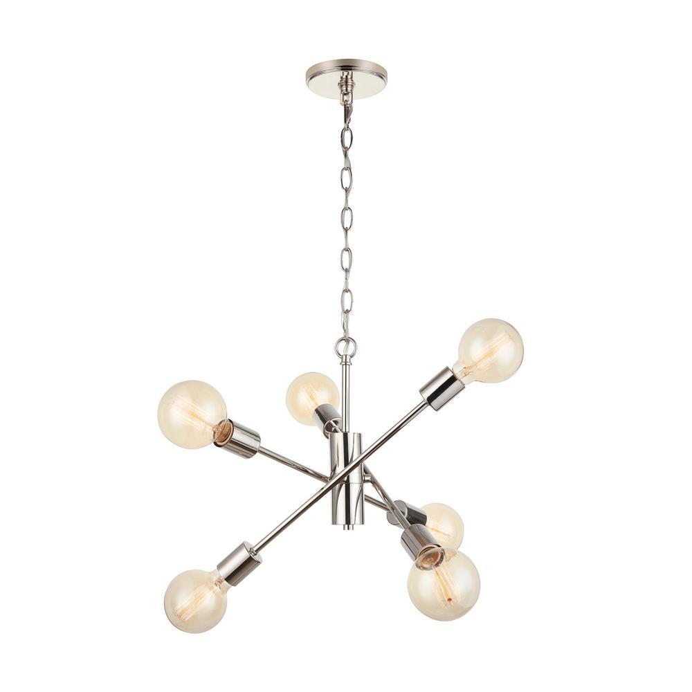 Fife 6-Light Polished Nickel Sputnik Chandelier with G30 Vintage Bulb