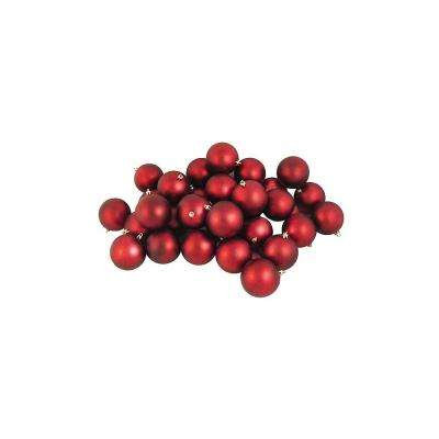 3.25 in. (80 mm) Matte Red Hot Shatterproof Christmas Ball Ornaments (32-Count)