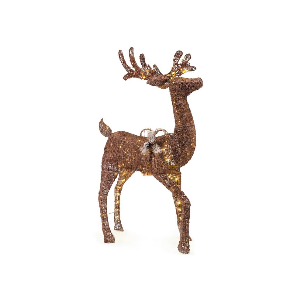 Led animated brown pvc deer indoor outdoor christmas for Christmas deer decorations indoor