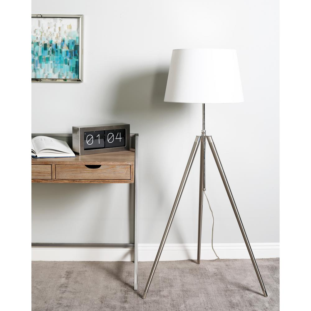 Silver Tripod Floor Lamp with White Linen Shade
