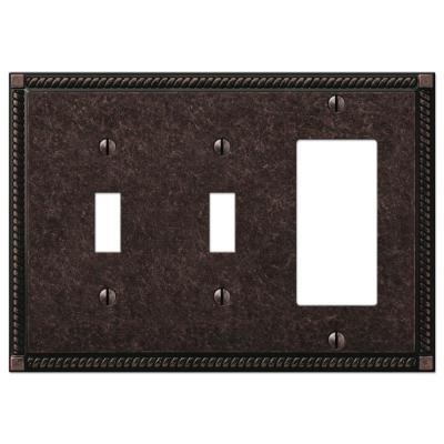Georgian 3 Gang 2-Toggle and 1-Rocker Metal Wall Plate - Tumbled Aged Bronze