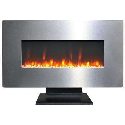 36 in. Metallic Electric Fireplace in Stainless Steel with Multi-Color Crystal Rock Display
