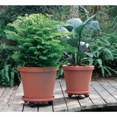 Caddy Round 14 in. Terra Cotta Plastic Plant Stand Caddy with Wheels (2-Pack)