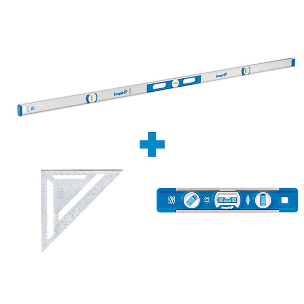 Empire 78 in. Aluminum Magnetic I-Beam Level with Aluminum Rafter Square and Torpedo Level