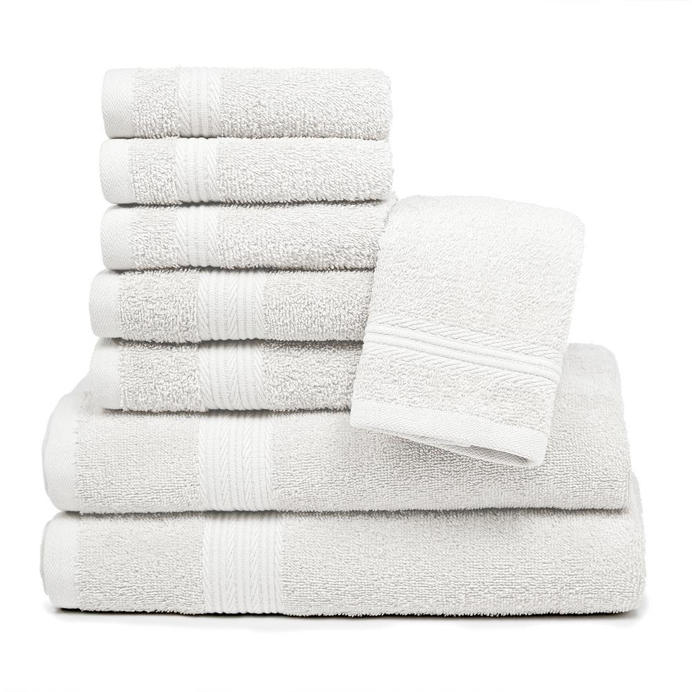 Blissful Living 8-Piece 100% Cotton Bath Towel Set in White