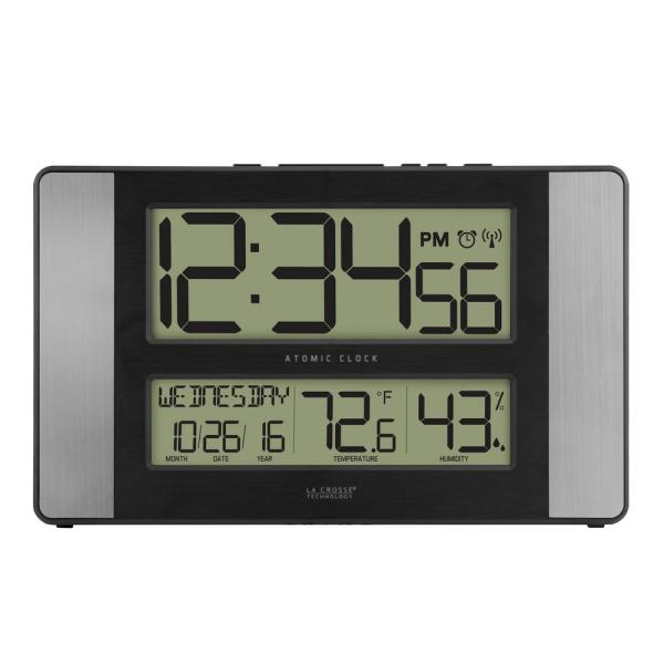 11 in. x 7 in. Atomic Digital Clock with Temperature and Humidity in Aluminum Finish