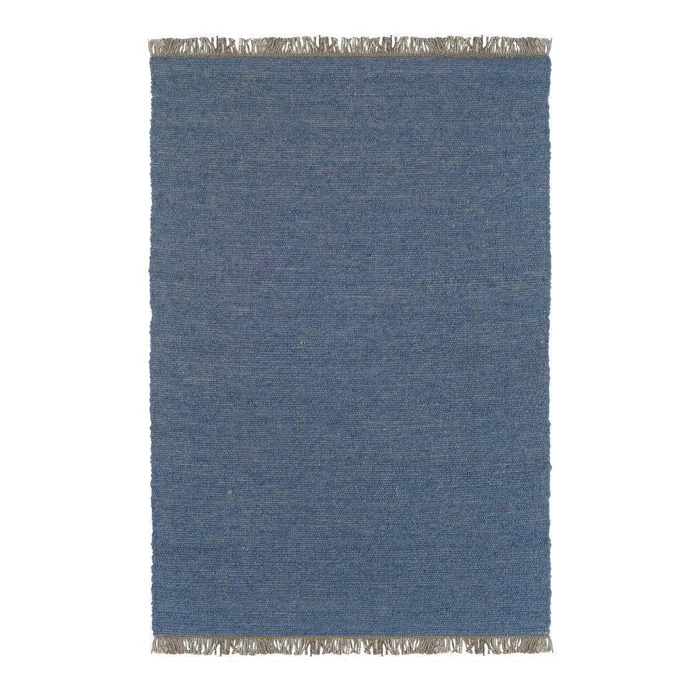 Linon Verginia Berber Denim Blue 5 ft. x 8 ft. Indoor Are...