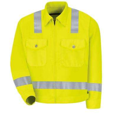 Class 2 Level 2 Men's Size 46 (Tall) Fluorescent Yellow / Green Hi-Visibility Ike Jacket