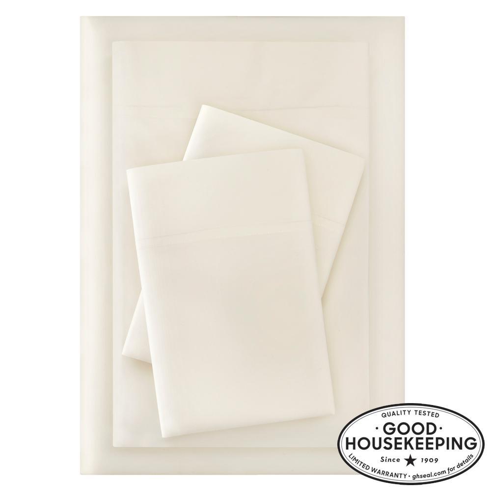 Brushed Soft Microfiber 4-Piece King Sheet Set in Ivory