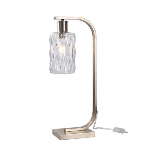 Osmond 7 in. Antique Brass  with Faceted Clear Glass Indoor Desk Lamp