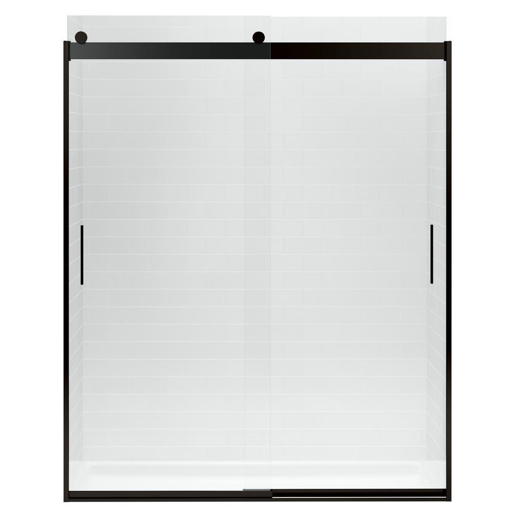 w x 82 in h frameless sliding shower door in anodized dark