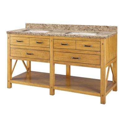 Avondale 61 in. W x 22 in. D Vanity in Weathered Pine with Granite Vanity Top in Giallo with White Sink