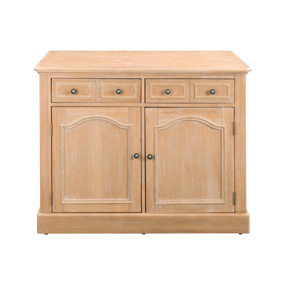 Cambridge White Wash Natural Kitchen Island Set with Wood Top