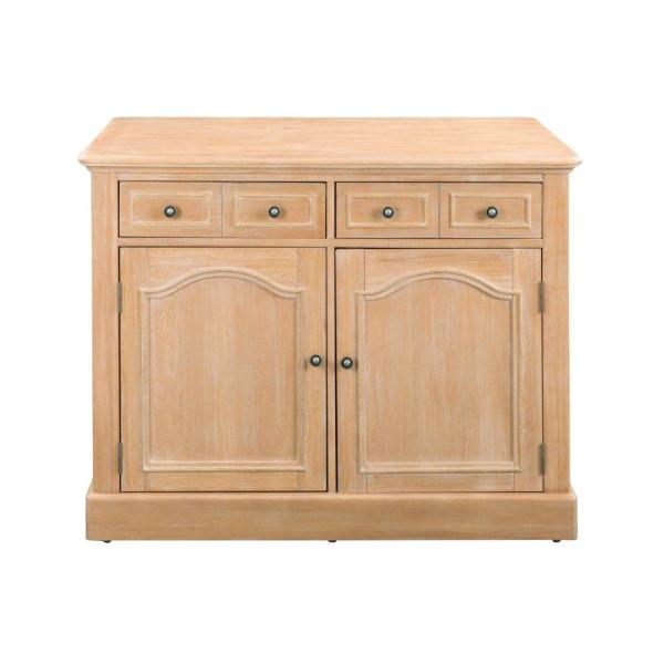 Home Styles Cambridge White Wash Natural Kitchen Island Set with Wood