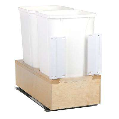 11-5/8 in. x 22-3/8 in. x 19-5/8 in. 27 Qt. White Undermount Soft-Close Double Trash Can
