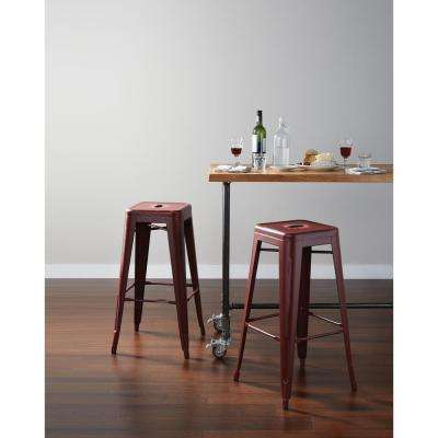 Bristow 30 in. Antique Metal Barstool in Antique Red Finish (2-Pack)
