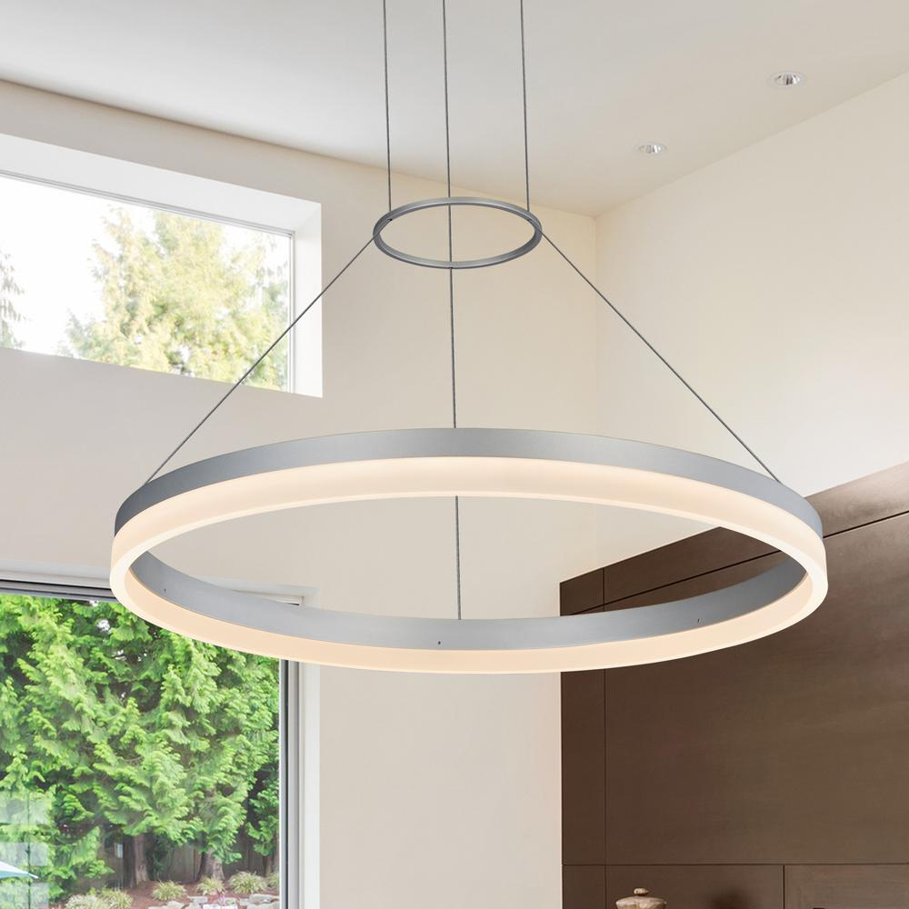 Vonn Lighting Tania Collection 37 Watt Silver Integrated Led Adjule Hanging Modern Circular Chandelier 24 In