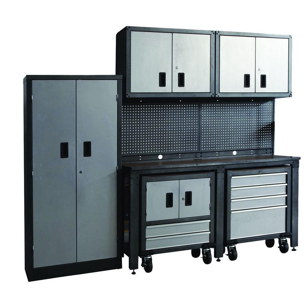GOSII Garage Organization System, Black and Gray (8-Piece)