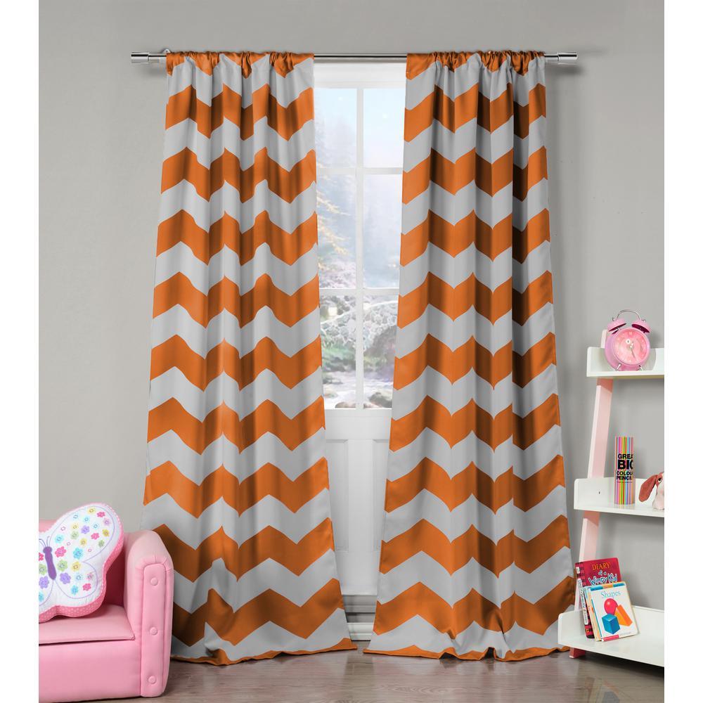 Stripe Orange Polyester Blackout Pole Top Window Curtain - 39 in. W x 84 in. L (2-Pack)
