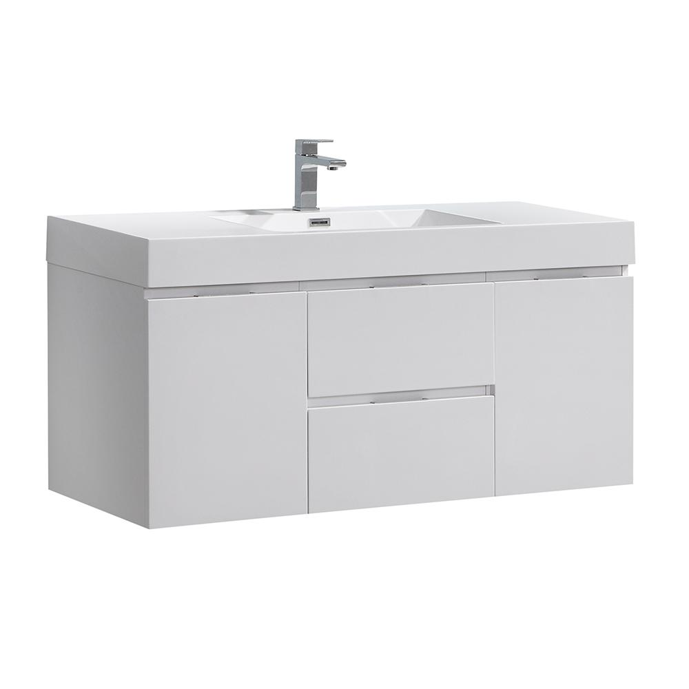 Fresca Valencia 48 in. W Wall Hung Bathroom Vanity in Glossy White, Double Acrylic Vanity Top in White