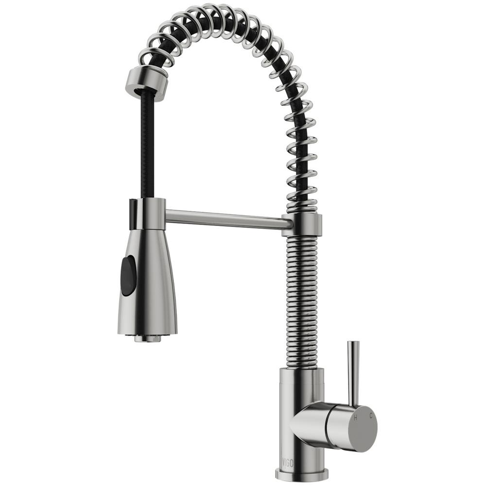 VIGO Brant Single-Handle Pull-Down Sprayer Kitchen Faucet in Stainless Steel