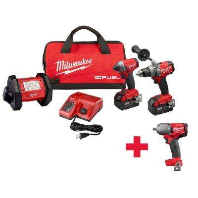 M18 FUEL ONE-KEY 18-Volt Lithium-Ion Brushless Cordless Hammer Drill/Impact Driver/Light Combo Kit W/ Free 1/2in. Impact