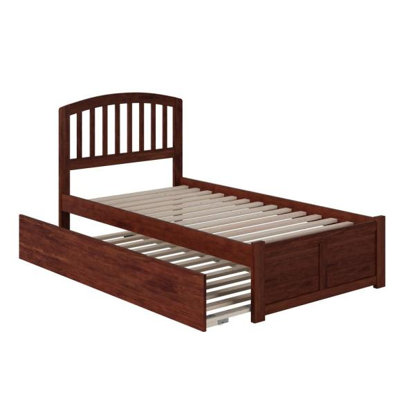 Richmond Walnut Twin Platform Bed with Flat Panel Foot Board and Twin Size Urban Trundle Bed