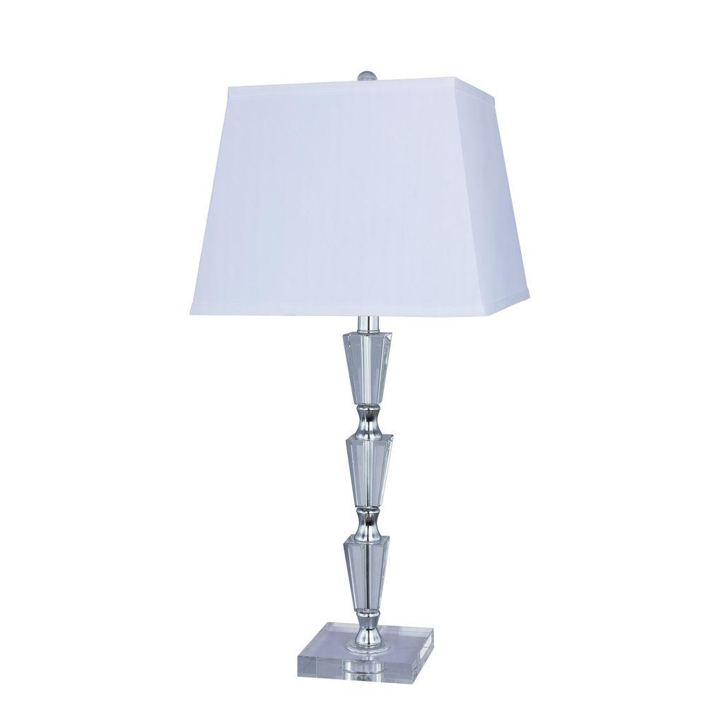 27.5 in. Crystal and Metal Table Lamp with Chrome Accents